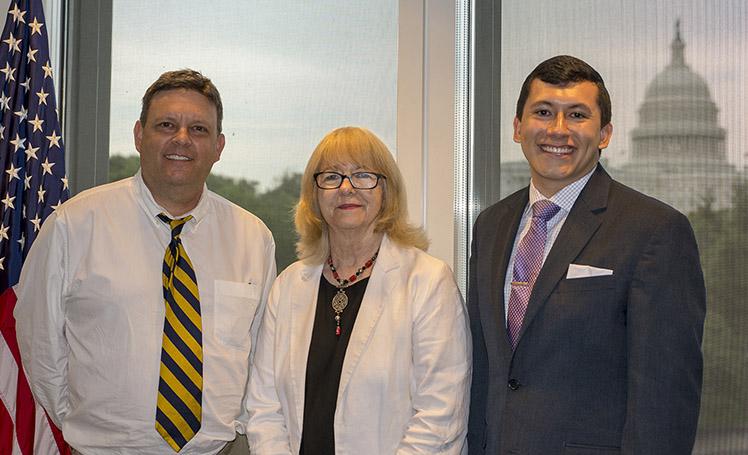 WISER President, Cindy Hounsell with 2018 iOme Challenge Winner Evan Avila (right) and Evan's faculty advisor for the project, Dr. Douglas J. Lamdin (left).
